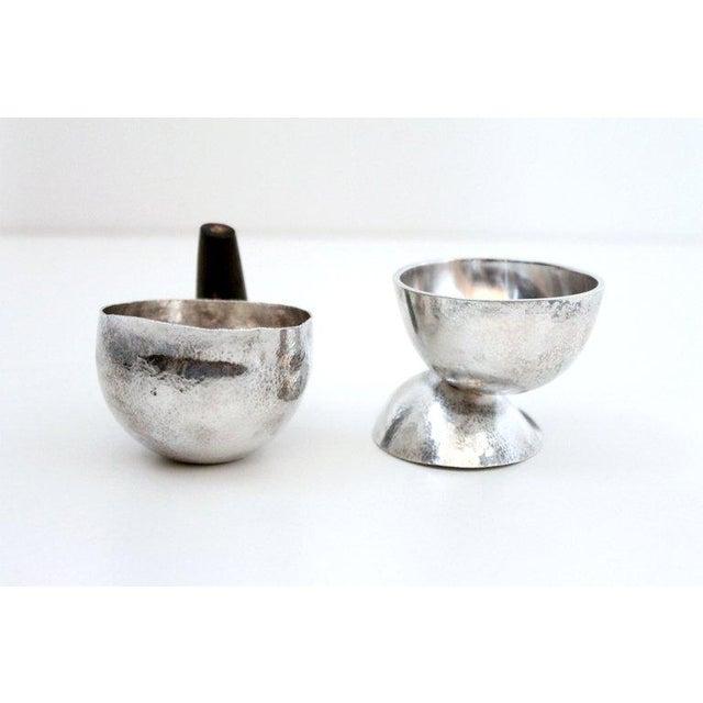 1950s Sculptural Modernist Sterling Creamer and Sugar Bowl For Sale - Image 5 of 11