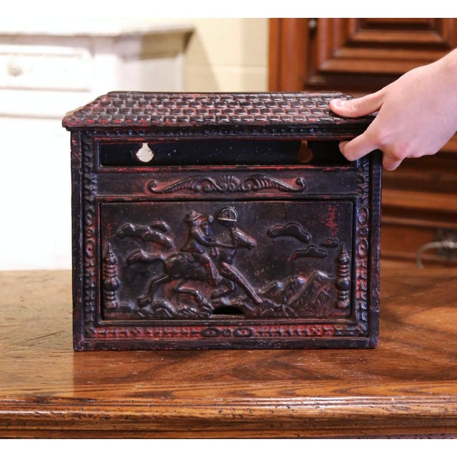 19th Century English Black Painted Cast Iron Wall Mailbox With Relief Decor For Sale In Dallas - Image 6 of 10