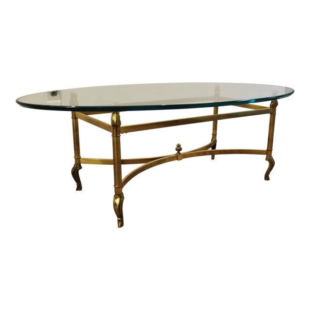 Regency Brass Base & Glass Top Coffee Table - Image 1 of 10