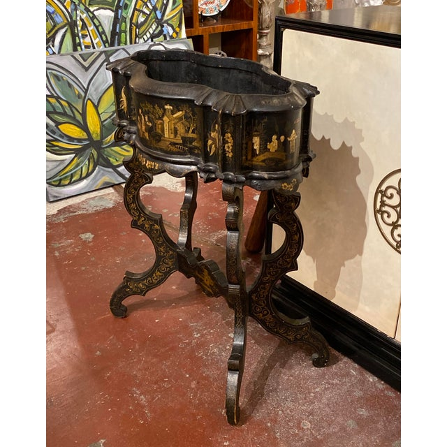 19th Century Vintage Chinoiserie Plant Stand For Sale - Image 4 of 9