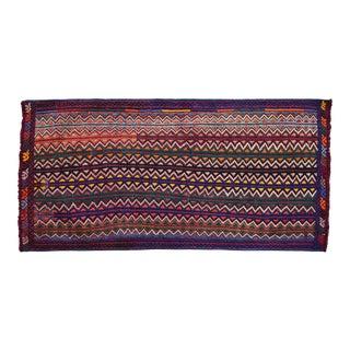 1960s Hand-Woven Braided Turkish Jajim Kilim Rug For Sale