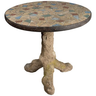 French Faux Bois Mosaic Tile Table For Sale