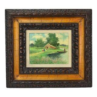 Vintage Impressionist Oil Painting River Side Cottage w Figures Carved Frame Signed For Sale