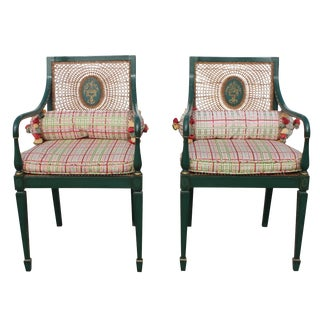 Green Adams Style Cane Armchairs - A Pair