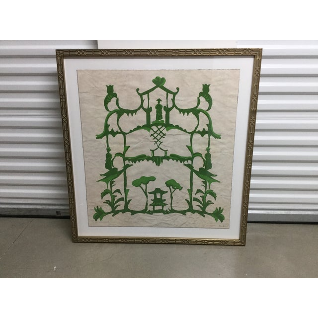 "Abstract Green Chinoiserie Inspired Print ""Folly and Green"" by Dana Gibson For Sale In San Antonio - Image 6 of 6"