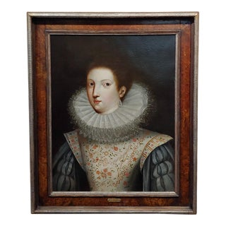 Portrait of an Aristocratic Woman With Ruff Collar Oil Painting, 16th/17th Century For Sale