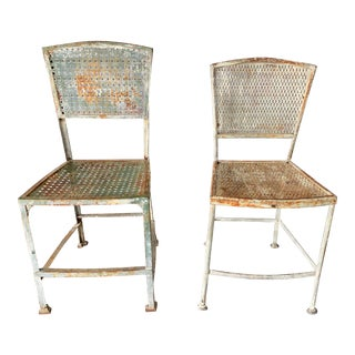 Pair of Iron Industrial Chairs With Original Paint For Sale