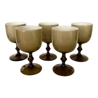 Vintage Carlo Moretti Glass Goblets- Set of 5 For Sale