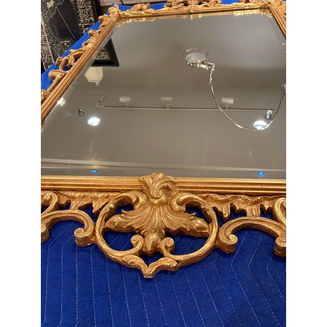English Large Vintage 1940s Gold Framed Mirror For Sale - Image 3 of 8