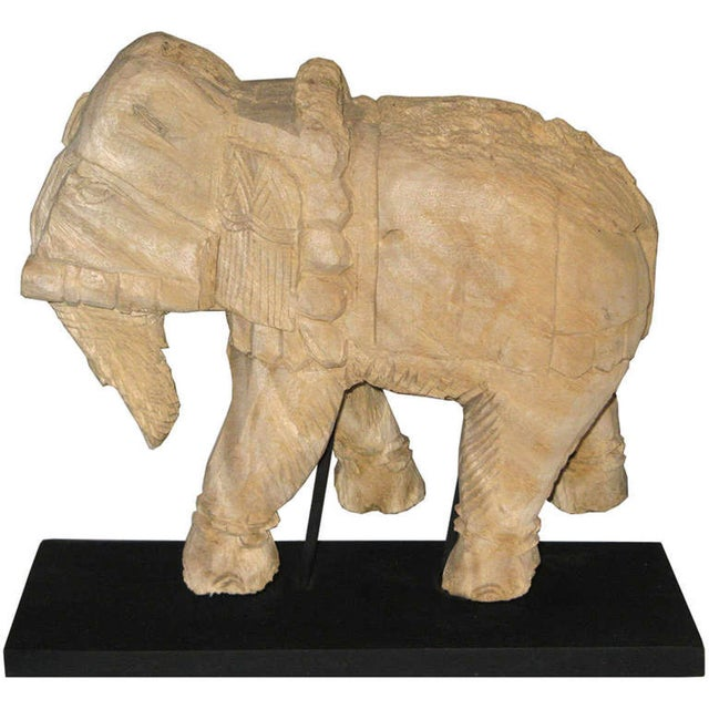 Primitive Thai Carved Wood Elephant For Sale - Image 3 of 6