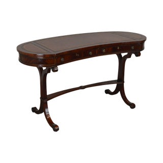 Regency Style Flame Mahogany Leather Top Kidney Shape Writing Desk For Sale