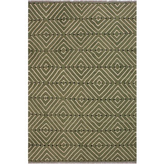 Modern Bauhaus Kilim Christia Green Hand-Woven Wool Rug - 6′ × 8′8″ For Sale