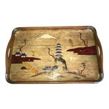 Image of 1960s Vintage Wooden Tray-Folk Art Chinoiserie Hand Painted Tray For Sale