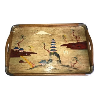1960s Vintage Wooden Tray-Folk Art Chinoiserie Hand Painted Tray For Sale