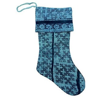 Vintage Silver Tribal Batik Christmas Stocking For Sale