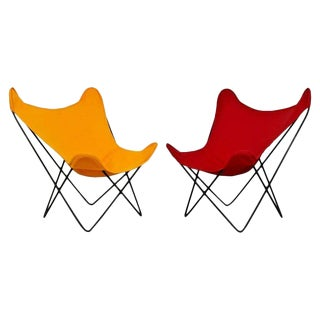 Mid Century Modern Knoll Butterfly Pair of Red Orange Iron Lounge Chairs 1970s For Sale