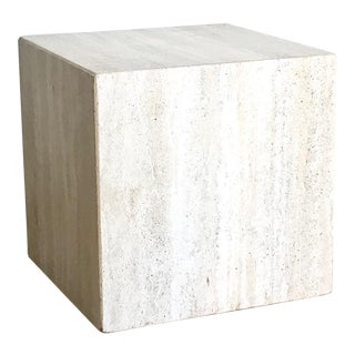 1950s Italian Travertine Stone Cube Side Table