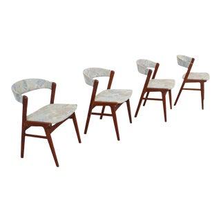 Set of 4 Mid-Century Danish Modern Kai Kristensen Style Teak Side Dining Chairs For Sale