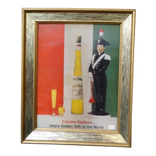 Vintage Mid-Century Liquore Galliano Advertisement Poster For Sale