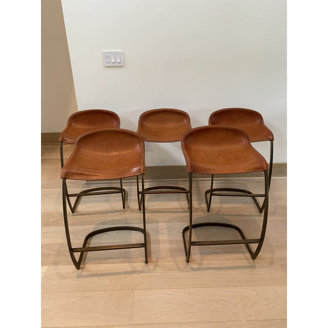 Custom Made Emmerson Troop Leather and Brass Bar Stools - Set of 5 For Sale - Image 10 of 10