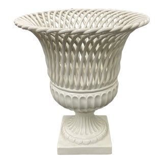 Mid 20th Century Italian Porcelain Ribbed Ivory Urn For Sale