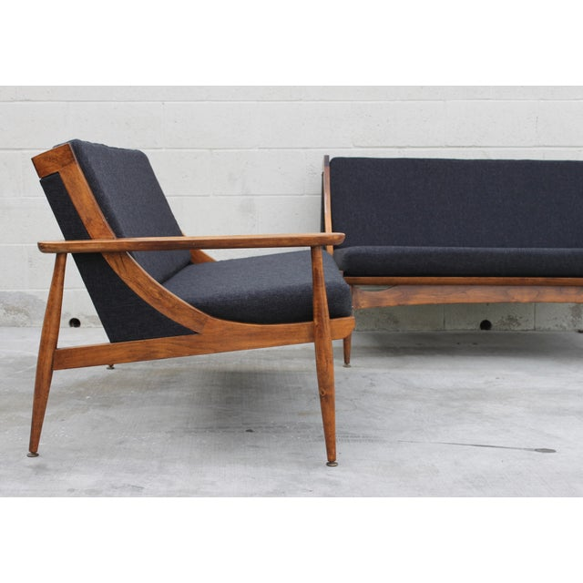 Walnut Danish Minimalist Spindle Back Sectional Sofa - Image 3 of 11
