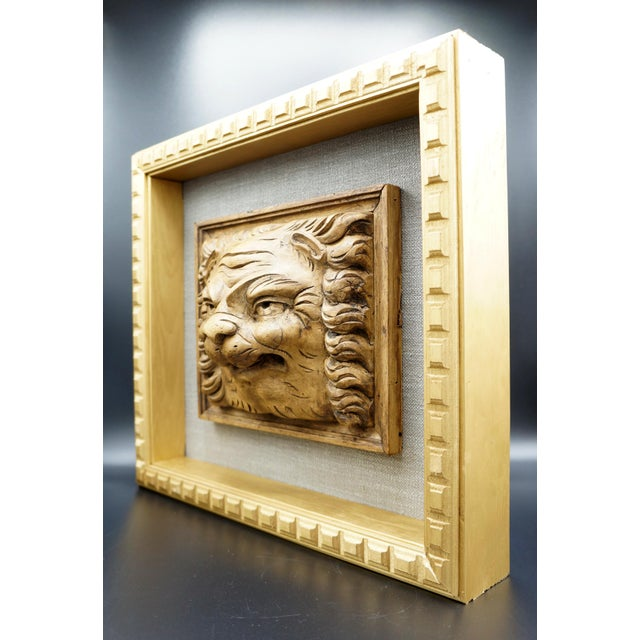Architectural lion head fragment framed in custom open shadowbox frame with gold finish & linen background. This antique...