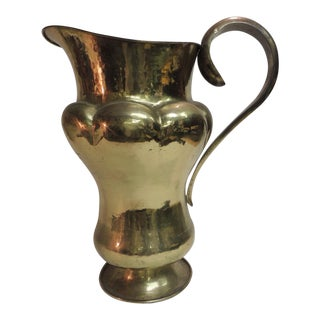 19th Century Monumental Persian Brass Water Ewer with Handle For Sale