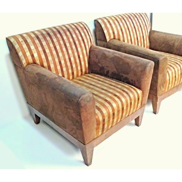 Red Modern Suede Upholstered Lounge Chairs - A Pair For Sale - Image 8 of 10
