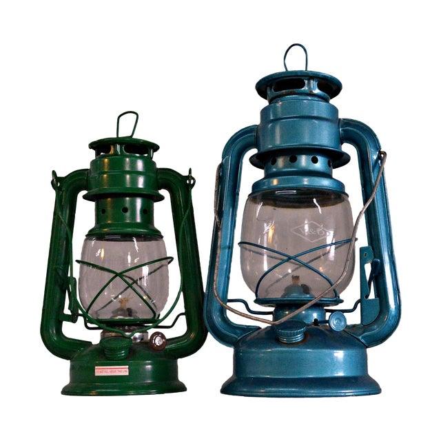 Winged Wheel Railroad Hanging Lanterns - A Pair - Image 1 of 7