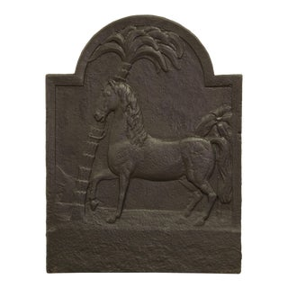 Antique Fireback, Beautiful Horse With Palm Tree For Sale