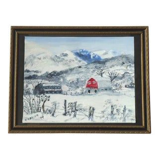"""1970s Vintage """"Rocky Mountain Farm in the Snow"""" Painting by Fraizer For Sale"""