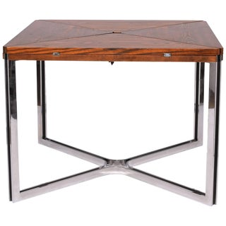 1970s Mid-Century Modern Dyrlund Rare Expandable Wenge and Steel Dining Table For Sale