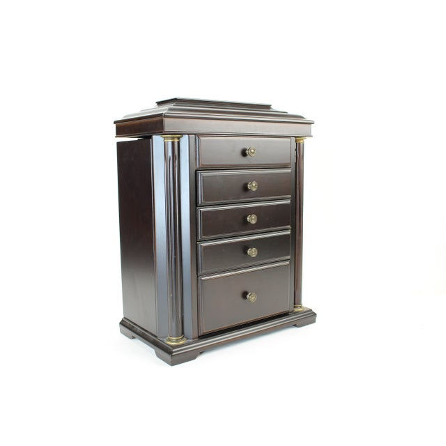 Brass 1990s Neoclassical Bombay Co. Walnut Jewelry Chest For Sale - Image 7 of 10