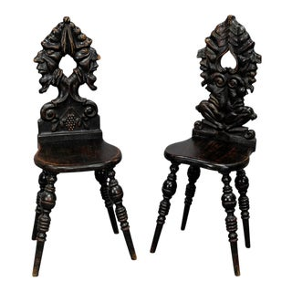 A Pair Renaissance Style Carved Chairs Ca. 1890 For Sale
