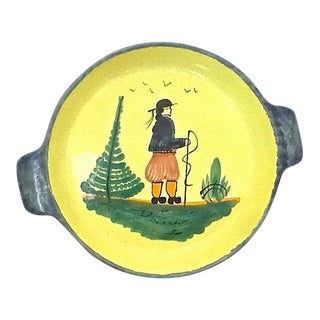 Vintage French Quimper Hiker Serving Bowl