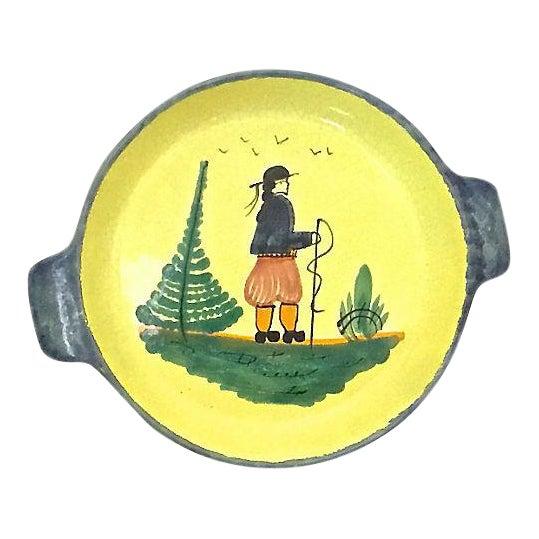 Vintage French Quimper Hiker Serving Bowl For Sale