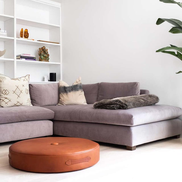 Drum Stacking Floor Cushion in Dune Shearling by Moses Nadel For Sale In New York - Image 6 of 7