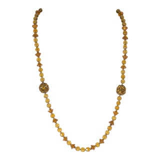 """Miriam Haskell 29"""" Necklace Long Vintage Rhinestone Ball Amber Glass Beaded For Sale"""