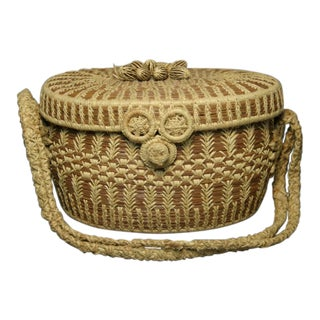1950s Southern Pine Needle Raffia Basket With Handle For Sale