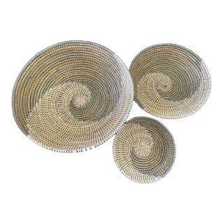 "Handmade Woven Wolof Baskets From Senegal 15"" in Diameter Set of 3 For Sale"