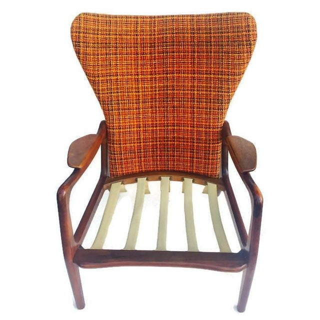 Mid Century Modern Wingback Chair Atomic Age Walnut Arm Chair All Original - Image 6 of 11
