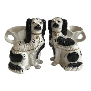1990s Vintage Staffordshire Dog Vases by Chelsea House Port Royal- A Pair For Sale