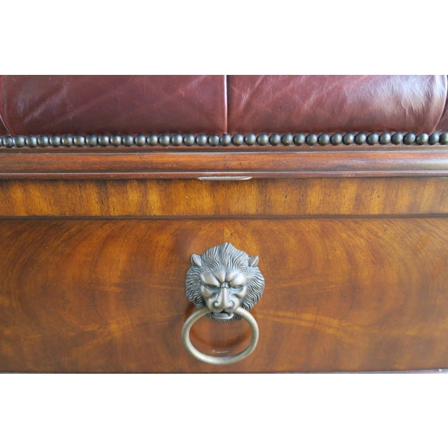 Animal Skin English Flamed Mohagany Leather Tufted Bench W/ Storage For Sale - Image 7 of 12