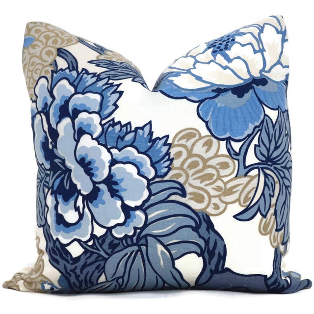 Abstract Blue and TanFloral Decorative Pillow Cover in Thibaut Honshu For Sale - Image 3 of 3