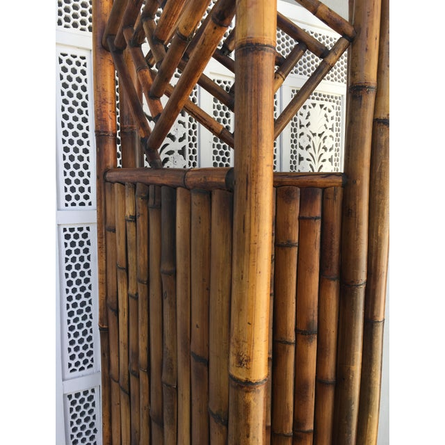 Vintage Late 20th Century Rattan Dressing Screen Room Divider With Fretwork For Sale - Image 4 of 5