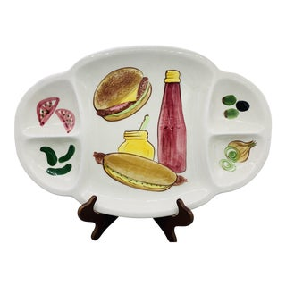 Los Angeles Potteries Bbq Grill Sectional Platter/ Vintage Hamburger and Hot Dog Serving Plate For Sale