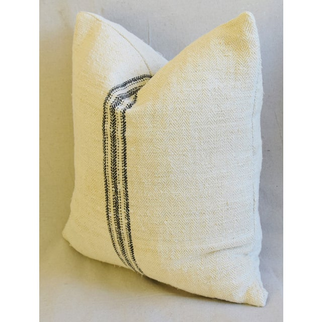 """French Woven Black Striped Grain Sack Feather/Down Pillows 20"""" X 21"""" - Pair For Sale - Image 10 of 12"""