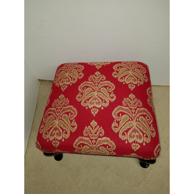 Red Ikat Upholstered Vintage Square Ottoman - Image 3 of 7