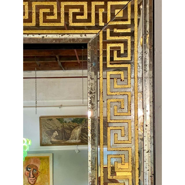 Hollywood Regency Hollywood Regency Mirrors Gilt Gold Greek Key Design Wall, Console Pier a Pair For Sale - Image 3 of 13